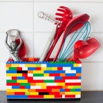 utensil holder made of your kids forgotten Lego's